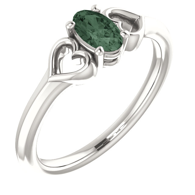 Chic Sterling Silver Genuine Chatham Created Created Alexandrite Youth Heart Ring