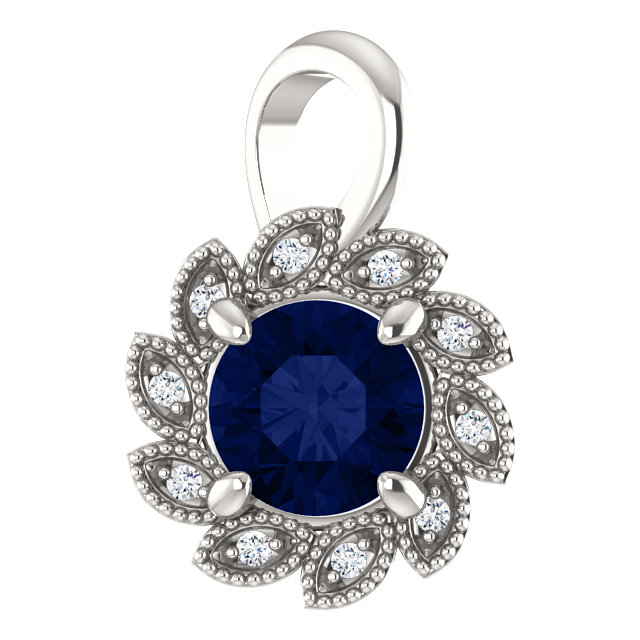 Fine Quality Sterling Silver Genuine Chatham Created Created Blue Sapphire & .04 Carat Total Weight Diamond Pendant