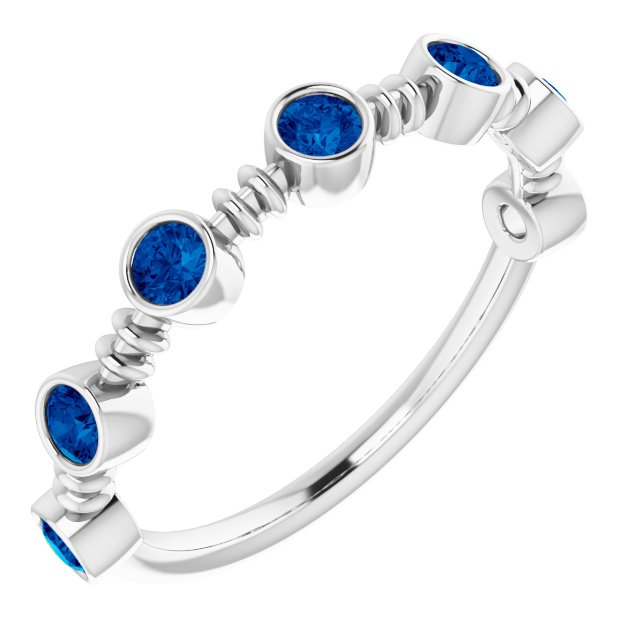 Chatham Created Sapphire Ring in Sterling Silver Chatham Created Genuine Sapphire Bezel-Set Ring