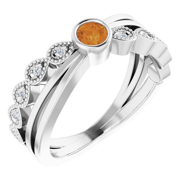 Golden Citrine Ring in Sterling Silver Chatham Created Citrine & .05 Carat Diamond Ring