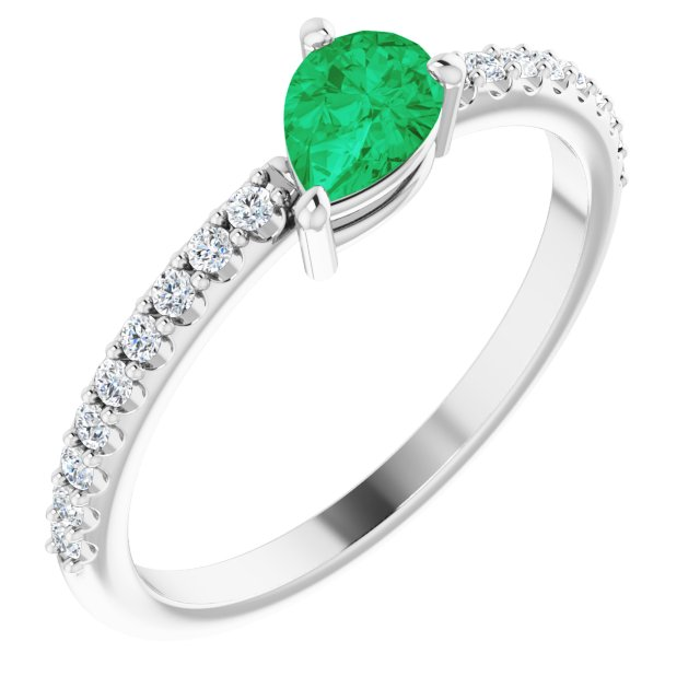 Chatham Created Emerald Ring in Sterling Silver Chatham Created Emerald & 1/6 Carat Diamond Ring