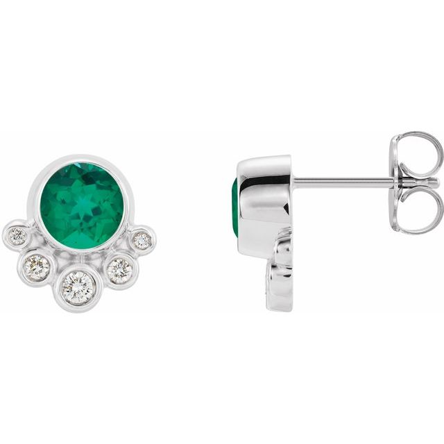 Genuine Chatham Created Emerald Earrings in Sterling Silver Chatham Created Emerald & 1/8 Carat Diamond Earrings