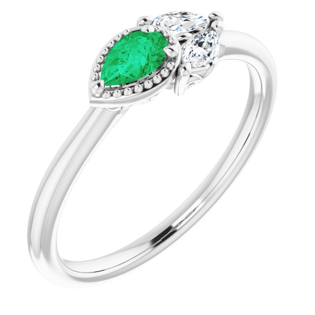 Chatham Created Emerald Ring in Sterling Silver Chatham Created Emerald & 1/8 Carat Diamond Ring