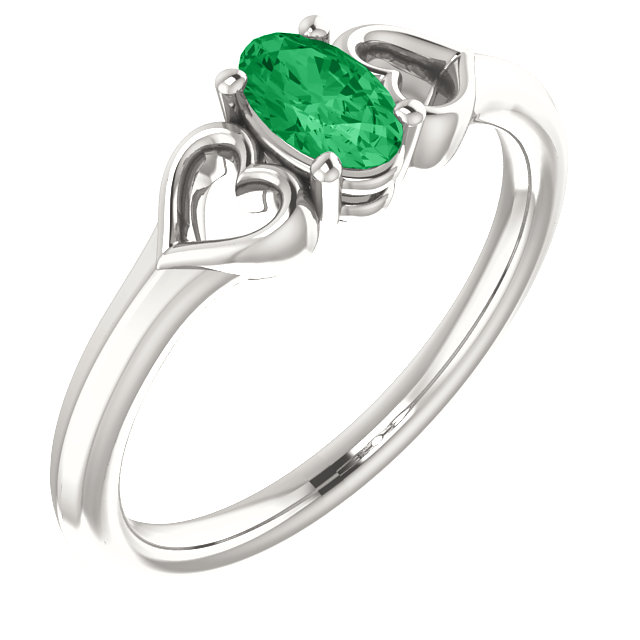 Sterling Silver Genuine Chatham Emerald Youth Heart Ring
