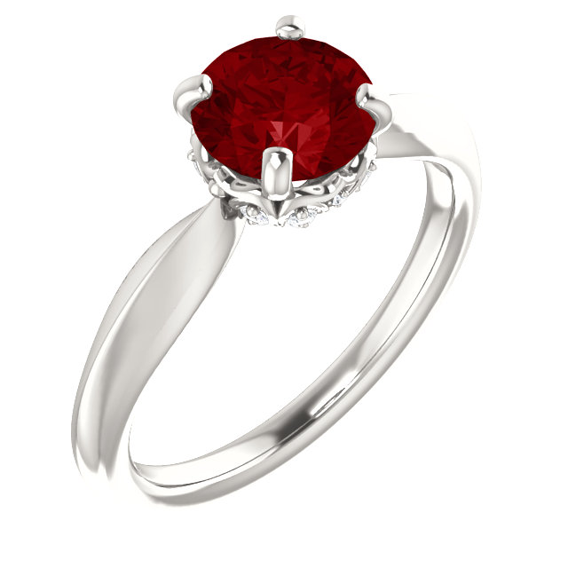 Sterling Silver Genuine Chatham Ruby & 0.10 Carat Diamond Ring
