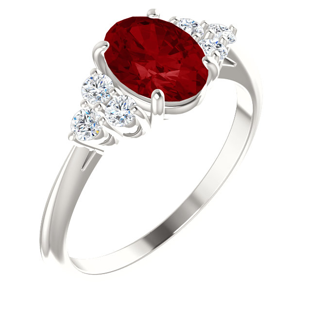 Fine Quality Sterling Silver Genuine Chatham Created Created Ruby & 0.17 Carat Total Weight Diamond Ring