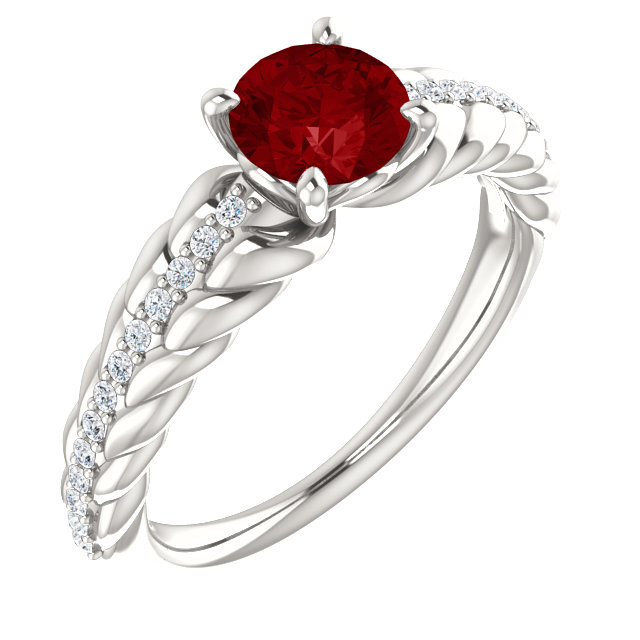Genuine Sterling Silver Genuine Chatham Ruby & 0.12 Carat Diamond Ring