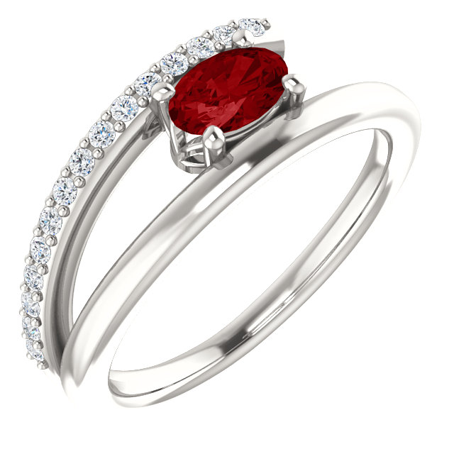 Surprise Her with  Sterling Silver Genuine Chatham Created Created Ruby & 0.12 Carat Total Weight Diamond Ring