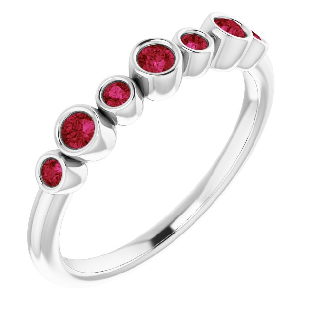 Chatham Created Ruby Ring in Sterling Silver Chatham Created Ruby Bezel-Set Ring