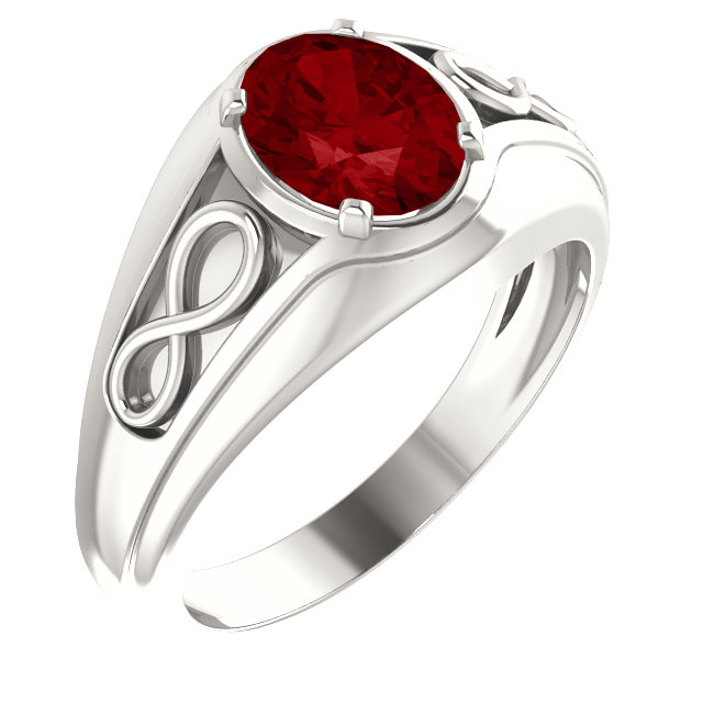 Great Deal in Sterling Silver Genuine Chatham Created Created Ruby Infinity-Inspired Men's Ring