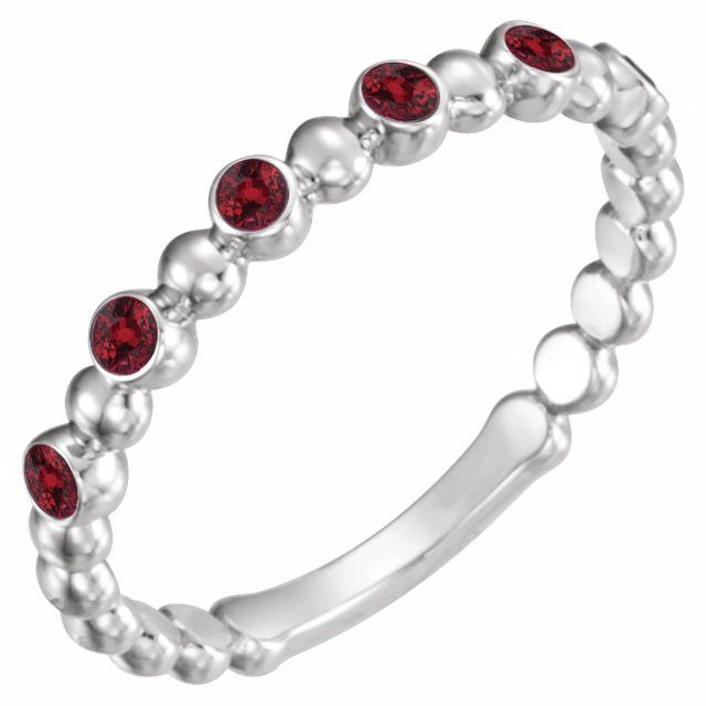 Chatham Created Ruby Ring in Sterling Silver Chatham Created Ruby Stackable Ring