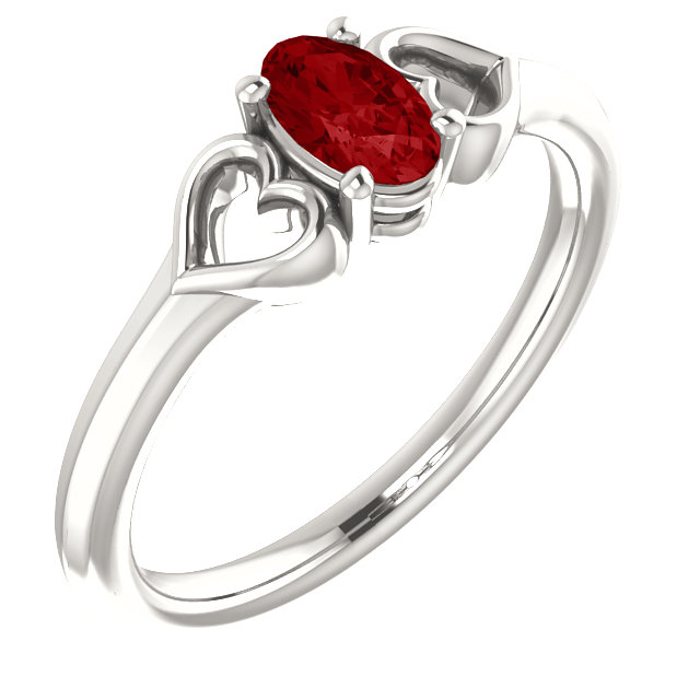 Contemporary Sterling Silver Genuine Chatham Created Created Ruby Youth Heart Ring