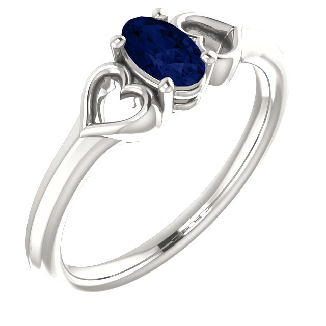 Sterling Silver Genuine Chatham Sapphire Youth Heart Ring