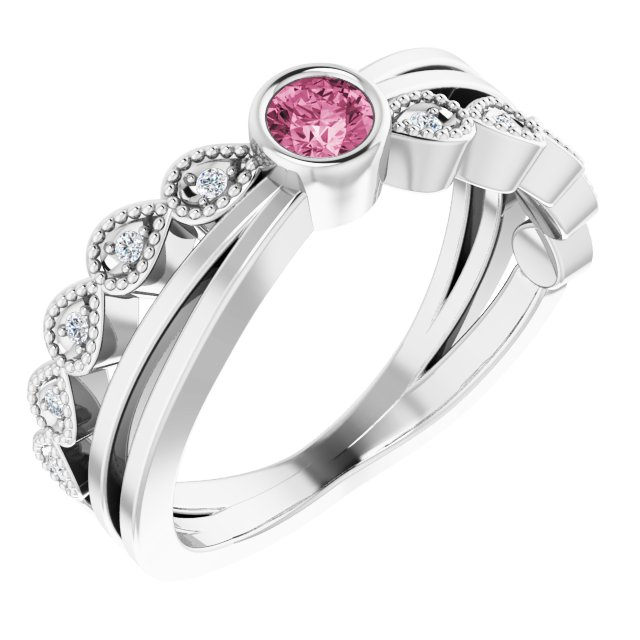 Pink Tourmaline Ring in Sterling Silver Chatham Created Tourmaline & .05 Carat Diamond Ring