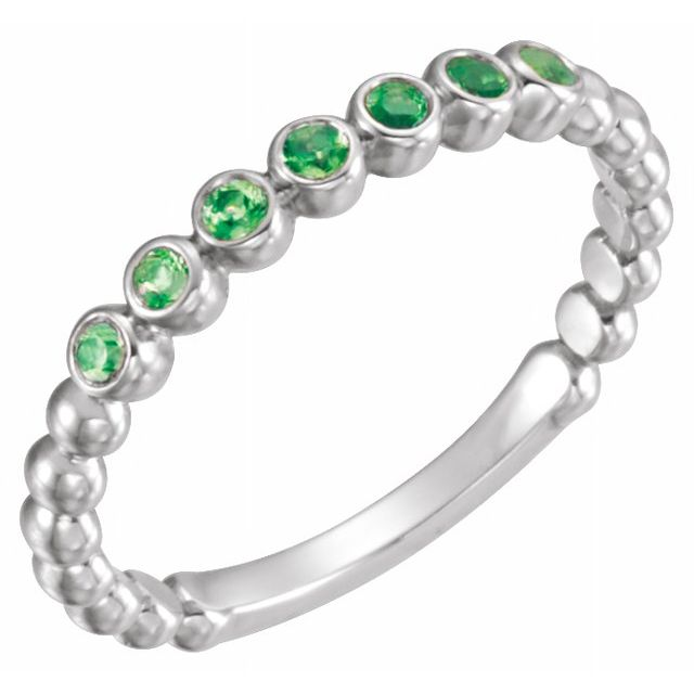 Chatham Created Emerald Ring in Sterling Silver Chatham Emerald Stackable Ring