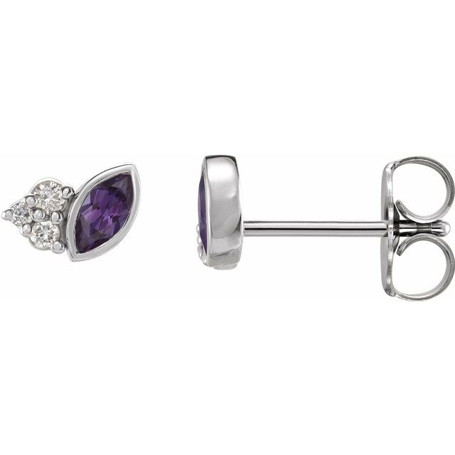 Color Change Chatham  Alexandrite Earrings in Sterling Silver Chatham Lab- Alexandrite & .05 Carat Diamond Earrings