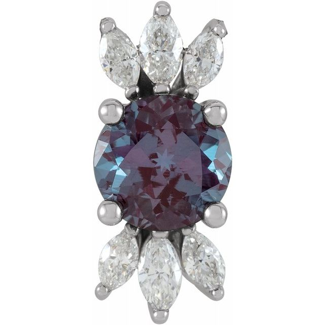 Created Alexandrite Pendant in Sterling Silver Chatham Lab-Created Alexandrite & 1/4 Carat Diamond 16-18