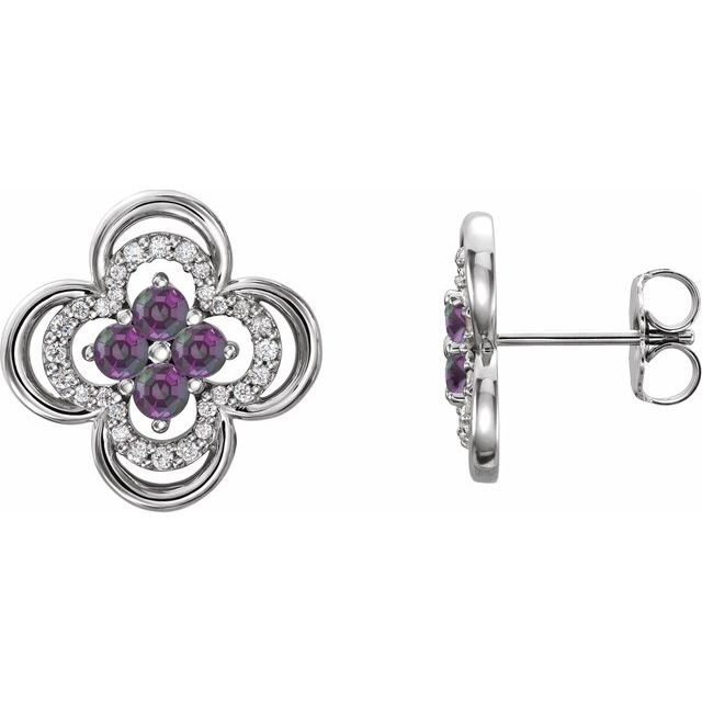 Color Change Chatham  Alexandrite Earrings in Sterling Silver Chatham Lab- Alexandrite & 1/5 Carat Diamond Clover Earrings