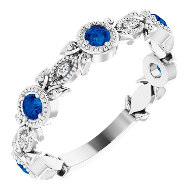 Chatham Created Sapphire Ring in Sterling Silver Chatham Lab-Created Genuine Sapphire & .03 Carat Diamond Ring