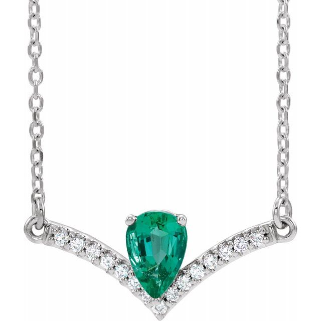 Genuine Chatham Created Emerald Necklace in Sterling Silver Chatham Lab-Created Emerald & .06 Carat Diamond 18