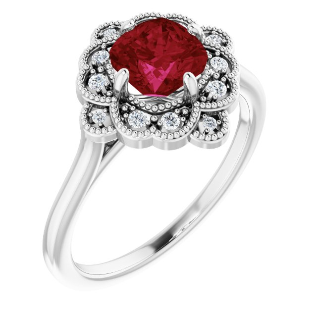Chatham Created Ruby Ring in Sterling Silver Chatham Lab-Created Ruby & .08 Carat Diamond Ring