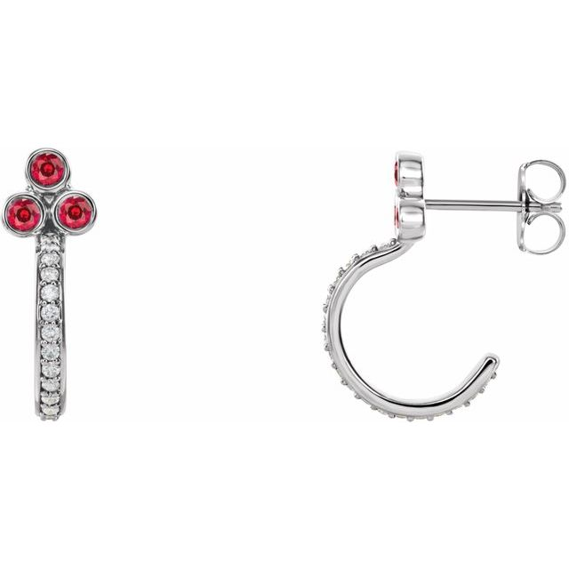 Chatham Created Ruby Earrings in Sterling Silver Chatham Lab-Created Ruby & 1/4 Carat Diamond J-Hoop Earrings