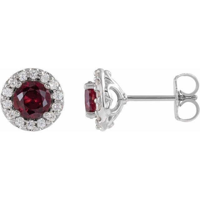 Chatham Created Ruby Earrings in Sterling Silver Chatham Lab-Created Ruby & 1/6 Diamond Earrings