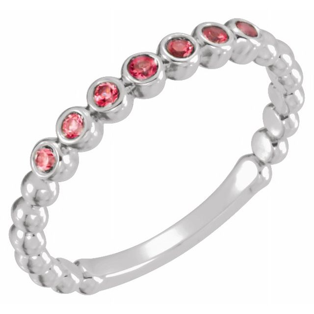 Chatham Created Ruby Ring in Sterling Silver Chatham Ruby Stackable Ring