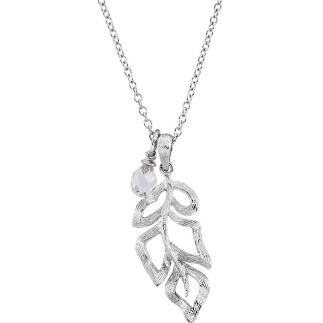 Sterling Silver Checkerboard Clear Quartz Leaf 32