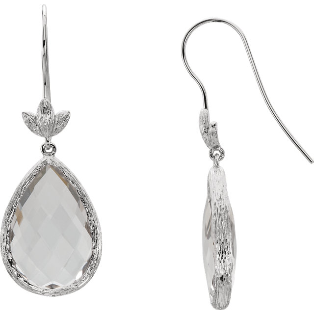 Sterling Silver Checkerboard Clear Quartz Leaf Earrings
