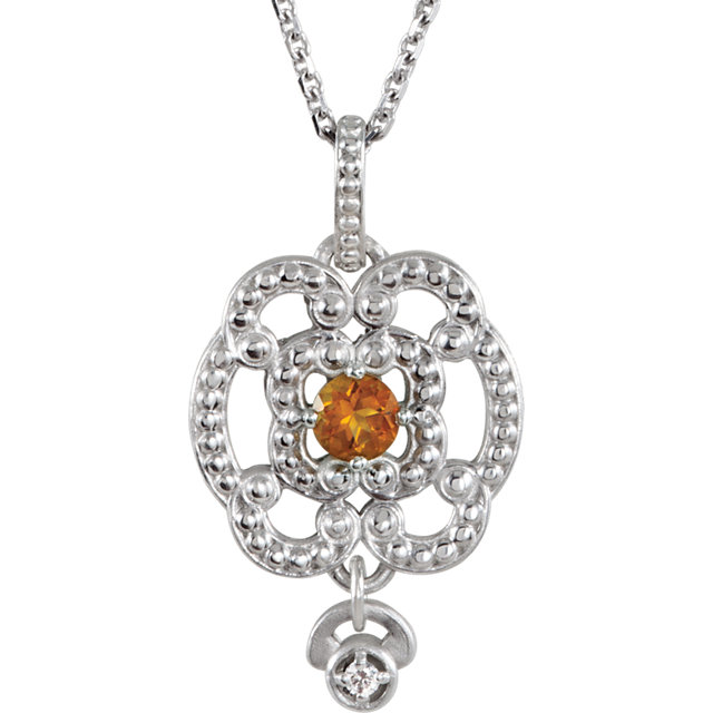 Fine Quality Sterling Silver Citrine & .015 Carat Total Weight Diamond Granulated Design 18