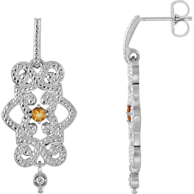 Perfect Gift Idea in Sterling Silver Citrine & .03 Carat Total Weight Diamond Granulated Design Dangle Earrings