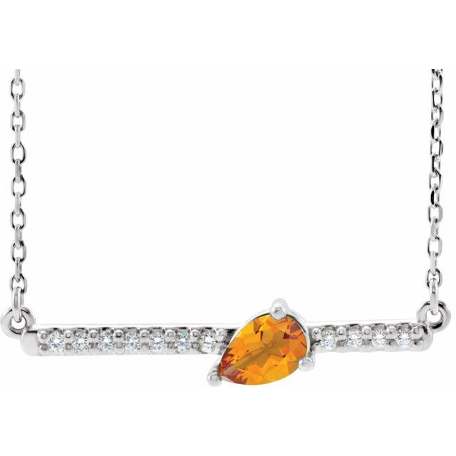 Golden Citrine Necklace in Sterling Silver Citrine & 1/10 Carat Diamond 16