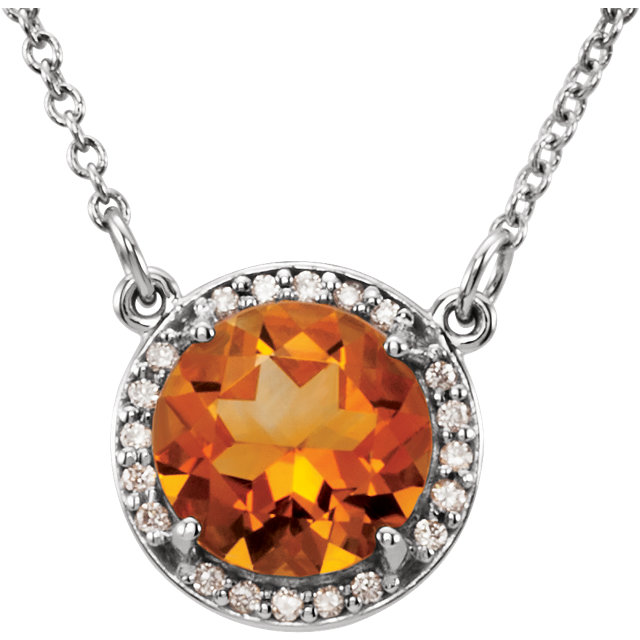 Stunning Sterling Silver Round Genuine Citrine and .04 Carat Total Weight Diamond Necklace