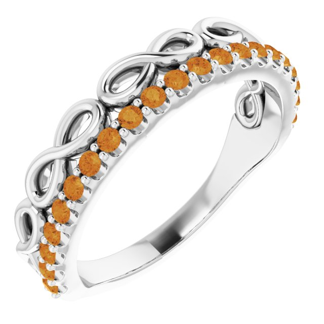 Golden Citrine Ring in Sterling Silver Citrine Infinity-Inspired Stackable Ring