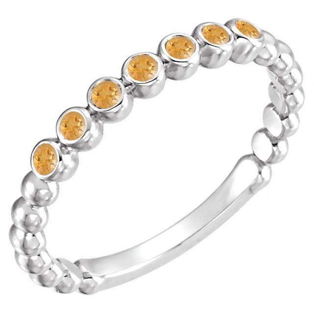 Golden Citrine Ring in Sterling Silver Citrine Stackable Ring