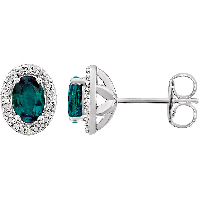 Contemporary Sterling Silver Created Alexandrite & .025 Carat Total Weight Diamond Earrings