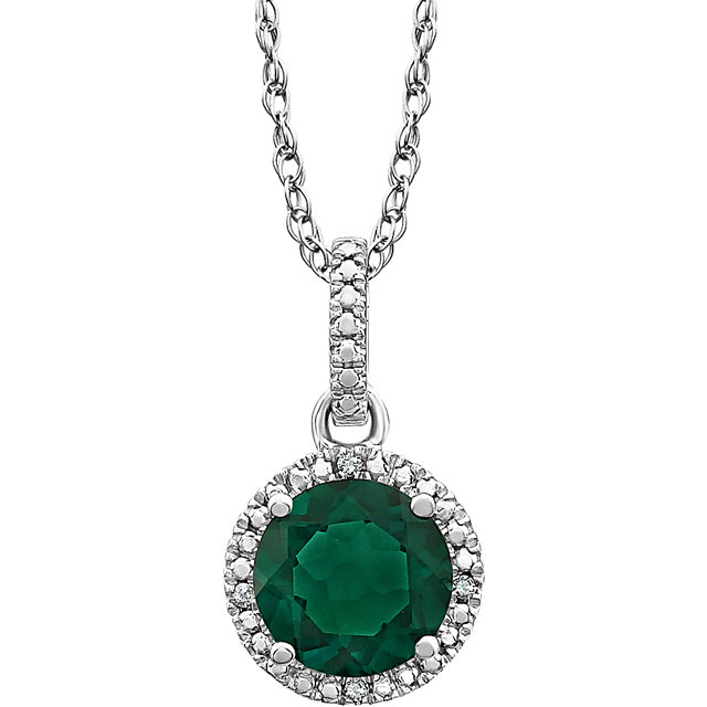 Perfect Gift Idea in Sterling Silver Lab-Grown Emerald & .01 Carat Total Weight Diamond 18