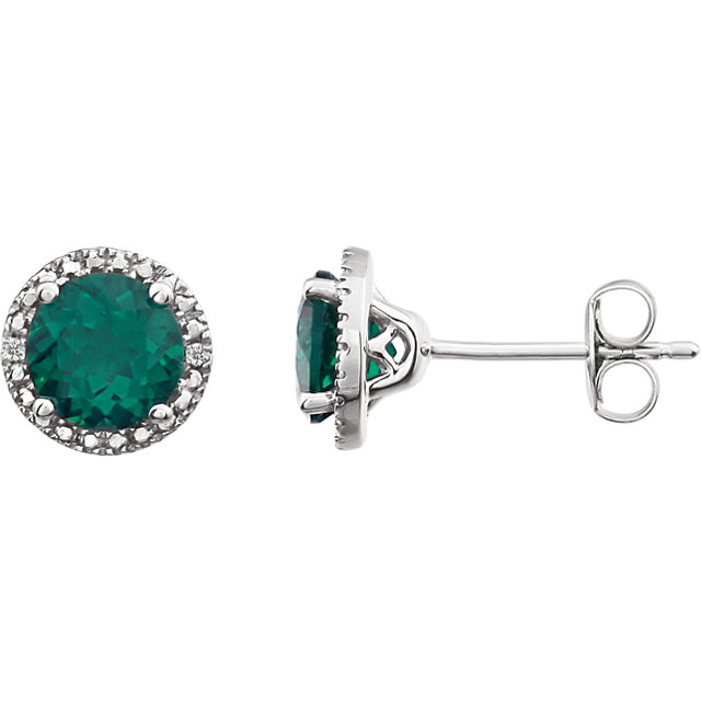 Wonderful Sterling Silver Created Emerald & .01 Carat Total Weight Diamond Earrings