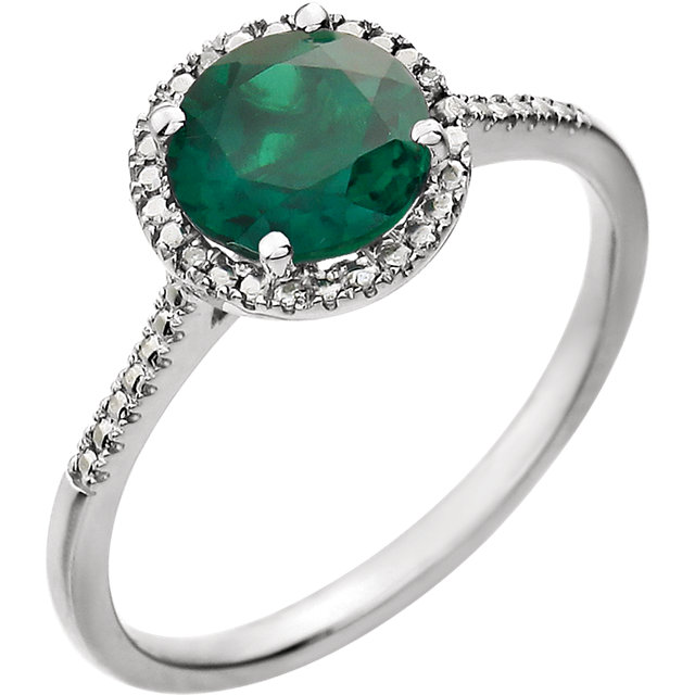 Sterling Silver Emerald & .01 Carat Diamond Ring