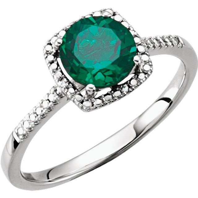 Great Buy in Sterling Silver Created Emerald & .01 Carat Total Weight Diamond Ring