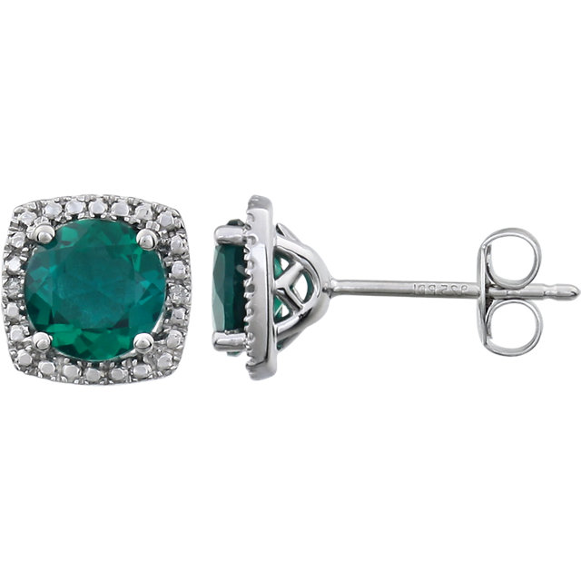 Appealing Jewelry in Sterling Silver Created Emerald & .015 Carat Total Weight Diamond Earrings