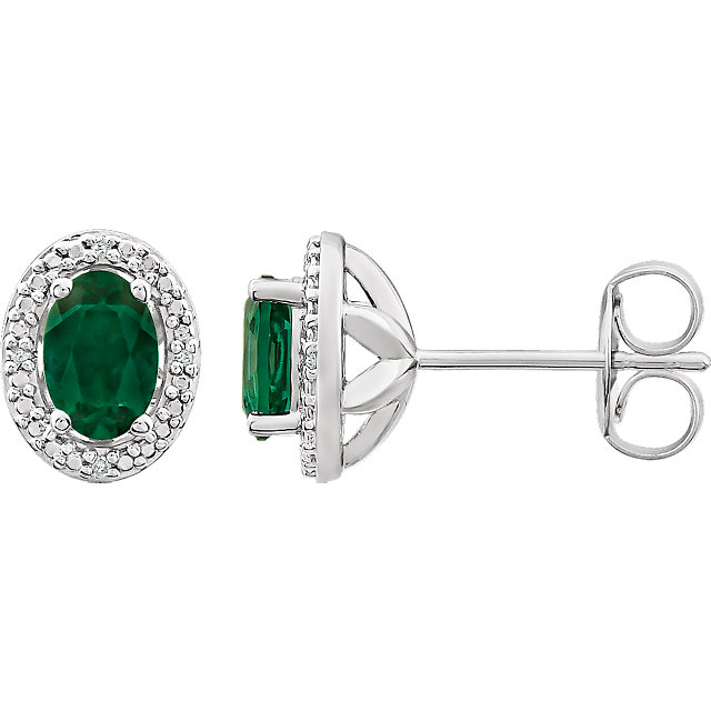 Genuine  Sterling Silver Created Emerald & .025 Carat TW Diamond Earrings
