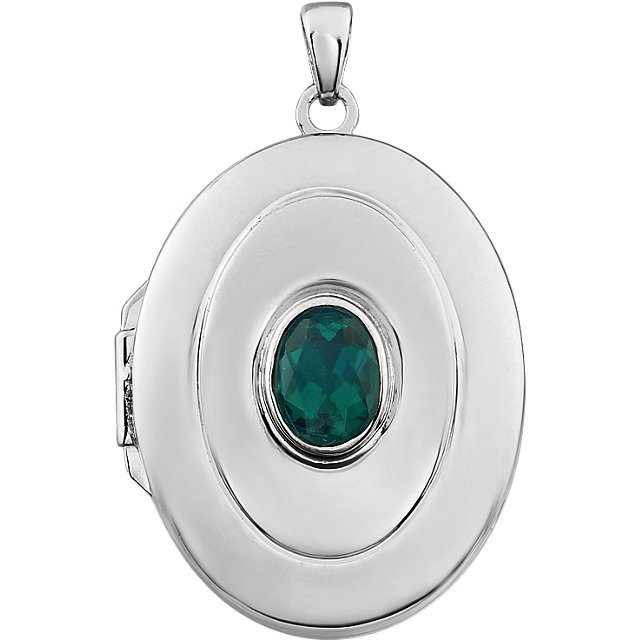 Sterling Silver Created Emerald