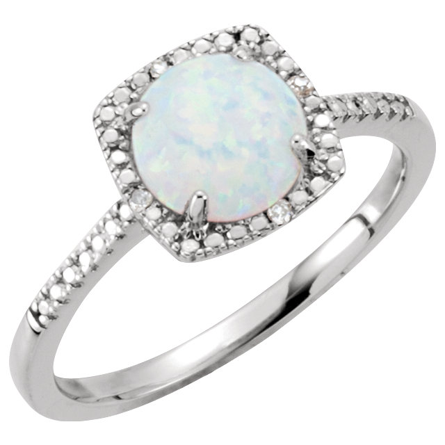 Sterling Silver Created Opal & .01 CTW Diamond Ring