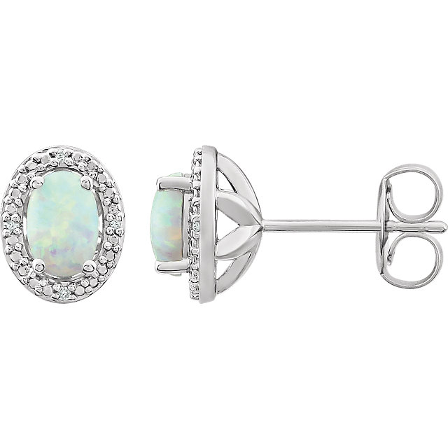 Very Nice Sterling Silver Created Opal & .025 Carat Total Weight Diamond Earrings
