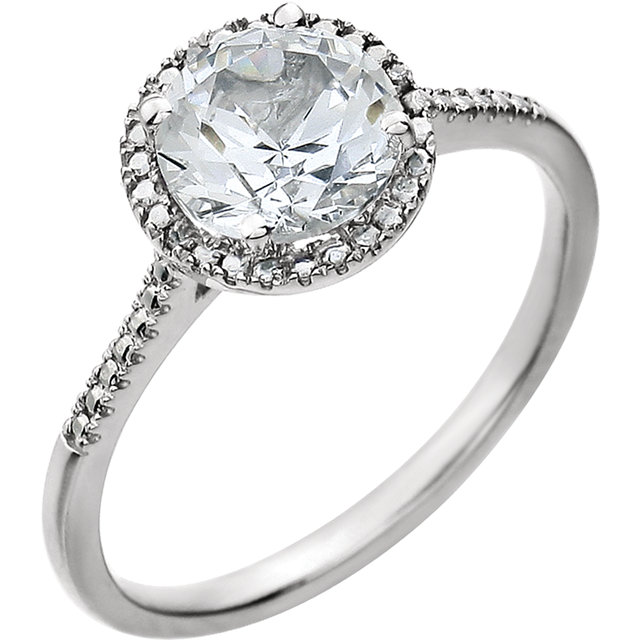 Sterling Silver Created White Sapphire & .01 CTW Diamond Ring