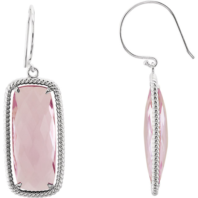 Great Gift in Sterling Silver Cushion Rose Quartz Rope-Styled Dangle Earrings