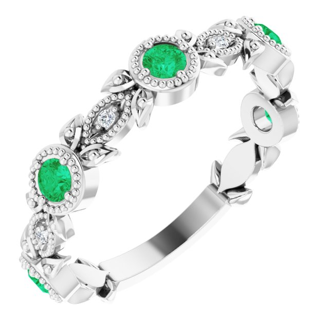 Emerald Ring in Sterling Silver Emerald & .03 Carat Diamond Leaf Ring