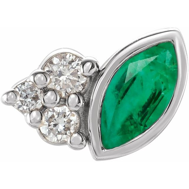 Genuine Emerald Earrings in Sterling Silver Emerald & .03 Carat Diamond Right Earring